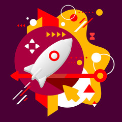 Rocket on abstract dark colorful spotted background with differe