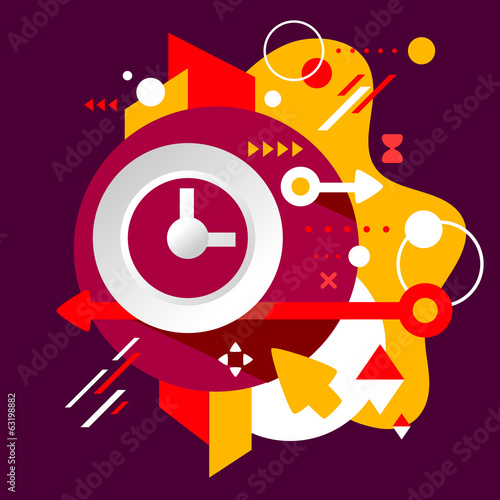 Clock on abstract dark colorful spotted background with differen