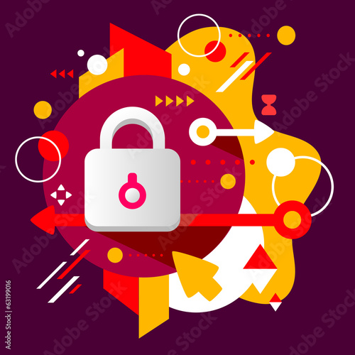 Lock on abstract dark colorful spotted background with different