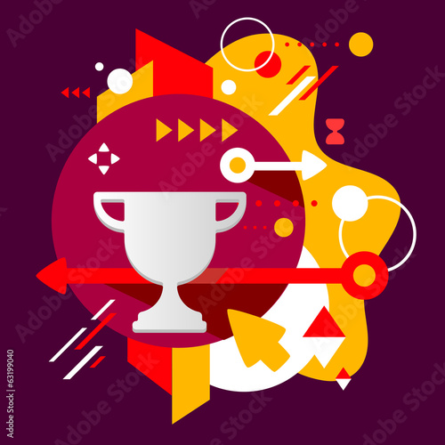 Cup winner on abstract dark colorful spotted background with dif