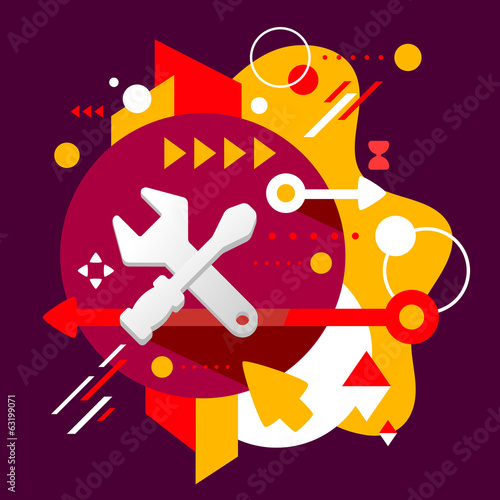 Tools screwdriver and wrench on abstract dark colorful spotted b