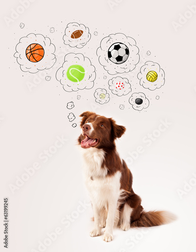 canvas print picture Cute dog with balls in thought bubbles
