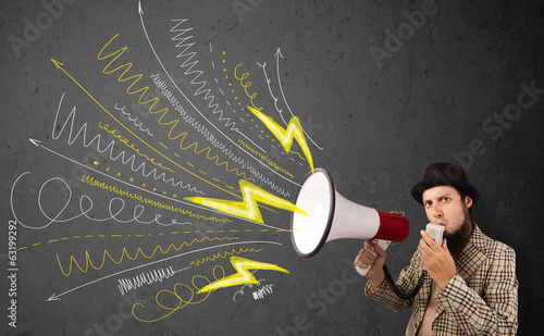 Leader guy shouting into megaphone with hand drawn lines and arr