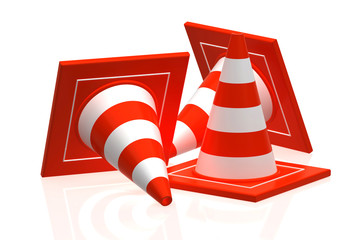 traffic cone isolated on white - 3d rendering