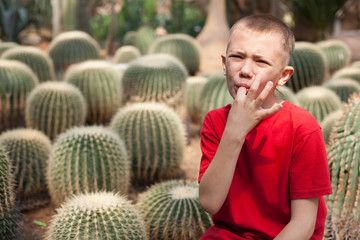 Boy pricked his finger on a cactus needles.