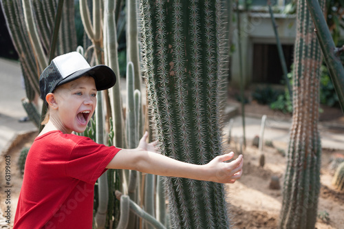 Boy jokingly hugging cactus and screams.