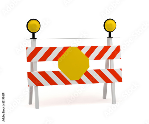 under construction stop sign. 3d rendering