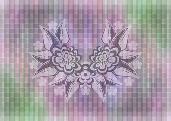 Abstract floral ornament on mosaic background