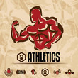 athletics, gym labels collection, vintage fitness emblems