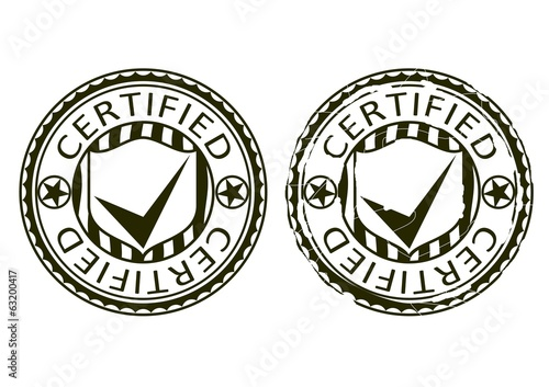 Certified. Rubber stamp on a white background.