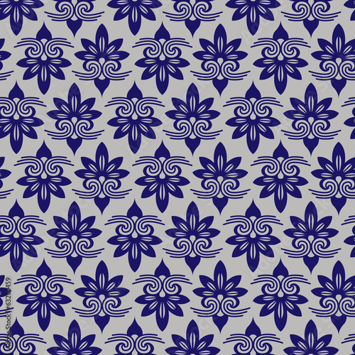 Blue Colors Asian flower Damask Pattern. Korean traditional Patt