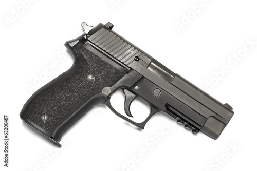 9mm handgun on white