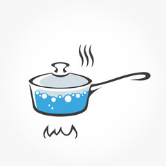 Pan with boiling water