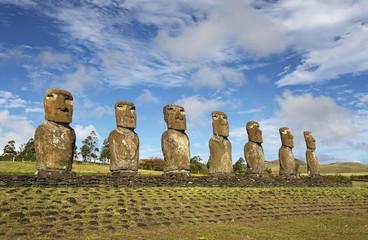 Moai of Easter island, symbol of Polynesian culture