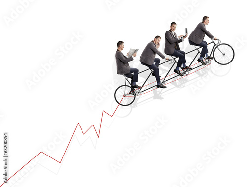 Group of businessmen on bicycle. Concept of teamwork.