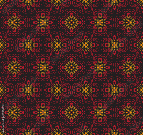 Red Colors Asian flower Damask Pattern. Korean traditional Patte
