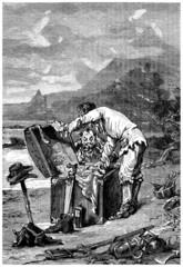 Wrecked finding a Trunk - Naufragés trouvant un Coffre