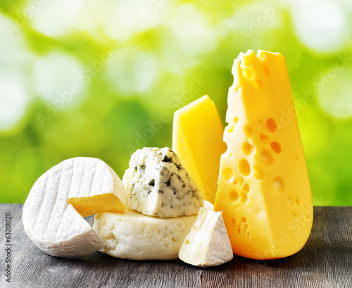 Different types of cheese on nature background