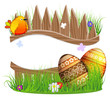 little bird and Easter eggs