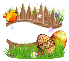 little bird and Easter eggs