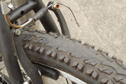 Worn bicycle tire