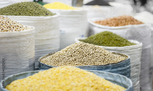 Grains in bags on oriental market
