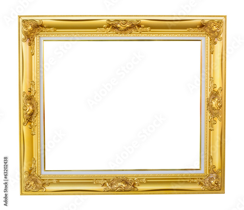 Gold louise photo frame over white background