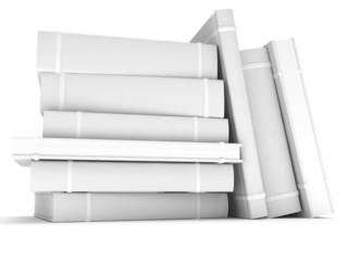 3D blank books cover over white background