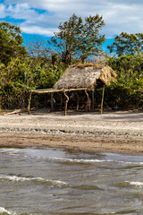 ometepe beach with wood construction