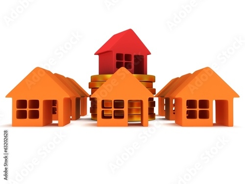 Orange houses and red one. 3d render.