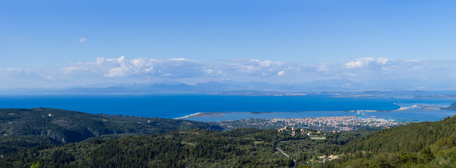 Overview on the island of Lefkada in Greece