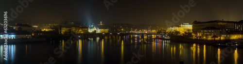 Panoramic view from Charles bridge in Prague, Czech Republic