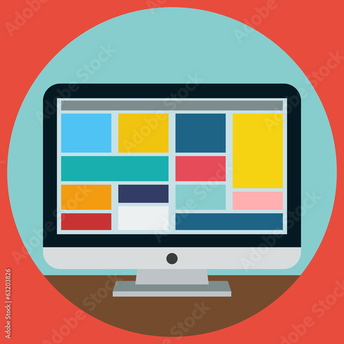 Monitor flat vector illustration