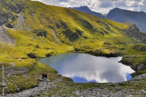 Blue mountain glacial lake in Carpathians