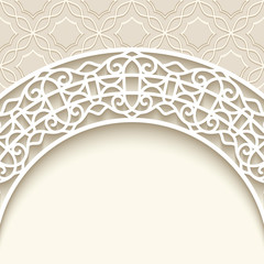 Ornamental beige background with paper lace border