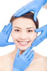 Beautiful woman make a cosmetic operation