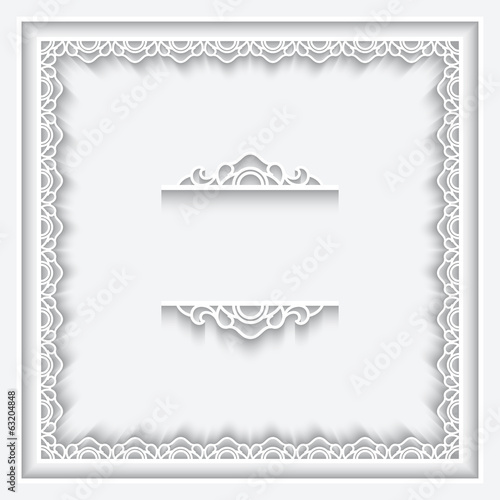 Paper lace frame on white background
