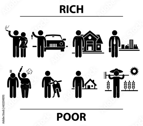 Rich and Poor Man Financial Differences Concept