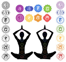 silhouette in yoga position with the symbols of seven chakras