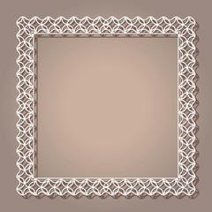 Vintage lace background, square ornamental frame