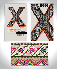 Ancient Business card design LETTER X