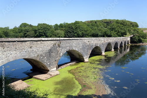 Old eight arch bridge in welsh countryside