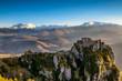 Le château de Roquefixade et les Pyrénées