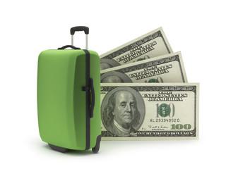 Travel bag and dollar bills on white background