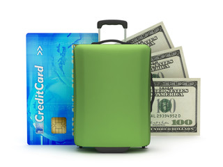 Suitcase, credit card and dollar bills on white background