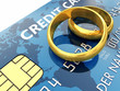 Gold wedding rings and credit card,Wedding planning