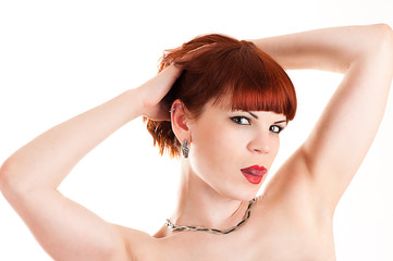 beautiful naked woman isolated on white background