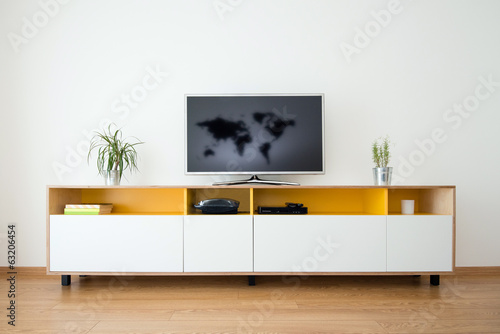 detail of modern living-room - wall with TV