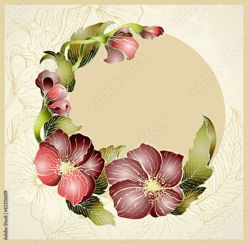 Greeting card with flower. Beautiful decorative framework with f