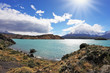 The turquoise lake Pehoe in park Torres del Paine, Chile